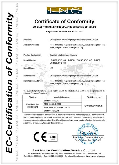 OFAN Cryo CE Certificate