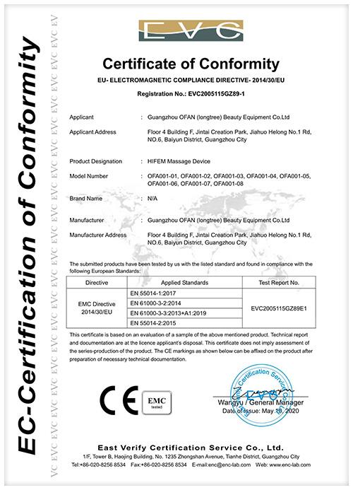 HIFEM Massage Device CE Certificate